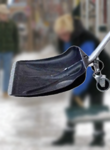 Wheeled shovel for snow and bulk materials